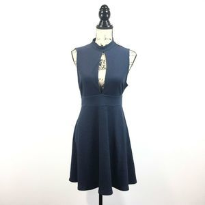 Silence + Noise Medium Dress Blue Danni Keyhole